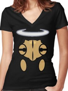 Shedinja Head, Halo, and Hands Women's Fitted V-Neck T-Shirt