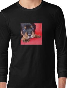 Comical Rottweiler Puppy With Food On Snout Long Sleeve T-Shirt