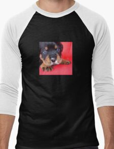 Comical Rottweiler Puppy With Food On Snout Men's Baseball ¾ T-Shirt