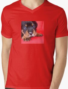 Comical Rottweiler Puppy With Food On Snout Mens V-Neck T-Shirt