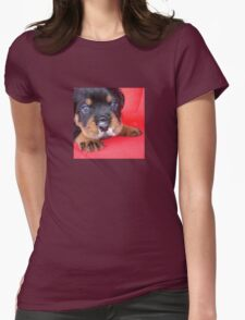 Comical Rottweiler Puppy With Food On Snout Womens Fitted T-Shirt