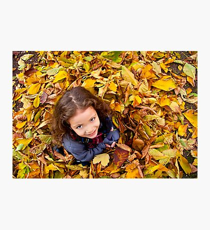 Playing With Autumn Leaves Photographic Print