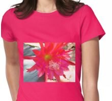 Pink Cactus Flower Womens Fitted T-Shirt