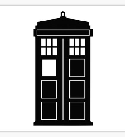 TARDIS (black and white) Sticker