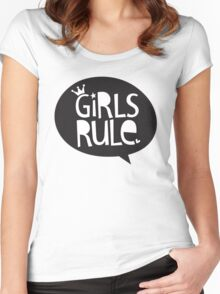 POP TYPE TYPOGRAPHY Girls Rule Black & white Women's Fitted Scoop T-Shirt
