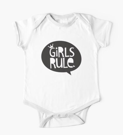 POP TYPE TYPOGRAPHY Girls Rule Black & white One Piece - Short Sleeve