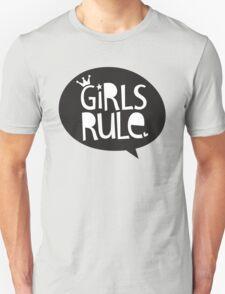 POP TYPE TYPOGRAPHY Girls Rule Black & white T-Shirt
