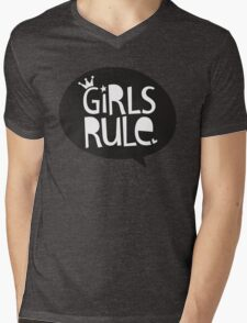 POP TYPE TYPOGRAPHY Girls Rule Black & white Mens V-Neck T-Shirt