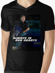 PAUL WALKER ALWAYS IN OUR HEARTS Mens V-Neck T-Shirt