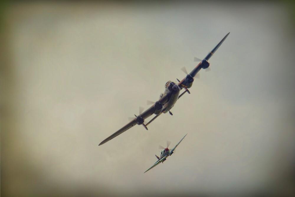 Lancaster and Spitfire by Dave Godden