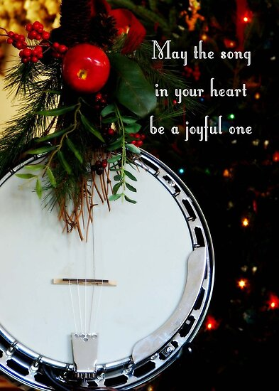 Joyful Song Banjo Christmas Greeting Card by NestToNest