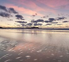 Evening at Polzeath Beach (December) by cornishwhippet