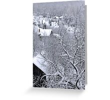 First snow winter background Greeting Card