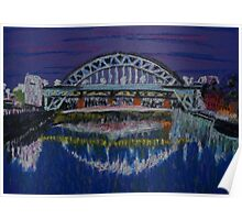 Tyne Bridges at night Poster