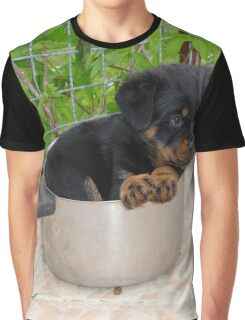 Puppy Rottweiler Curled Up In Food Bowl Graphic T-Shirt