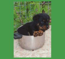 Puppy Rottweiler Curled Up In Food Bowl Kids Tee