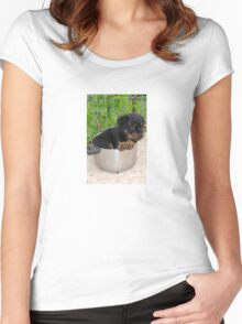 Puppy Rottweiler Curled Up In Food Bowl Women's Fitted Scoop T-Shirt