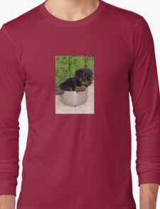 Puppy Rottweiler Curled Up In Food Bowl Long Sleeve T-Shirt