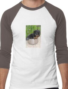 Puppy Rottweiler Curled Up In Food Bowl Men's Baseball ¾ T-Shirt