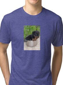 Puppy Rottweiler Curled Up In Food Bowl Tri-blend T-Shirt