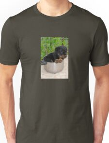 Puppy Rottweiler Curled Up In Food Bowl Unisex T-Shirt