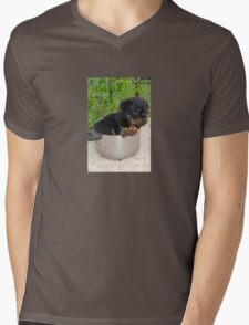 Puppy Rottweiler Curled Up In Food Bowl Mens V-Neck T-Shirt