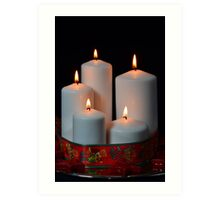 White candles with red ribbon and stars Art Print