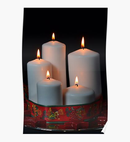 White candles with red ribbon and stars Poster