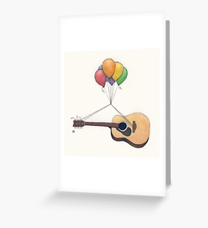 Guitar Getting Carried Away by Balloons Greeting Card