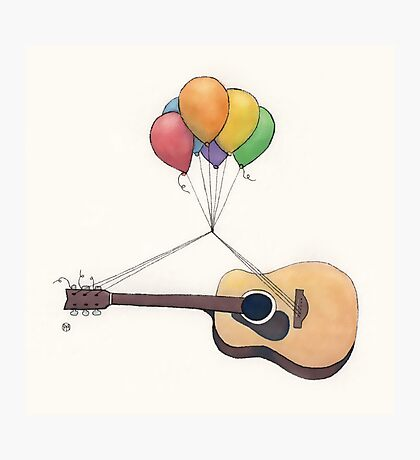 Guitar Getting Carried Away by Balloons Photographic Print