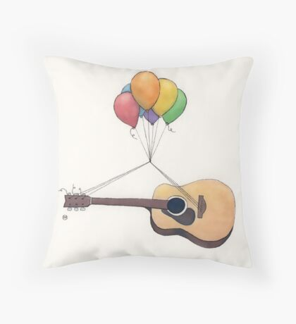 Guitar Getting Carried Away by Balloons Throw Pillow