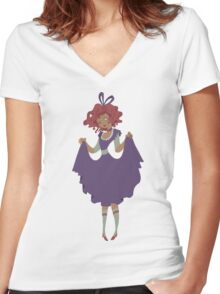 Cute Girl - Purple Dress Women's Fitted V-Neck T-Shirt
