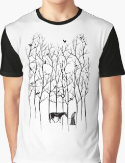 Snow and Ghost Amongst Crows Graphic T-Shirt