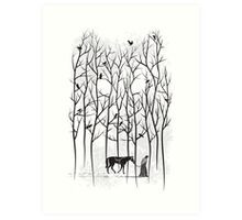 Snow and Ghost Amongst Crows Art Print