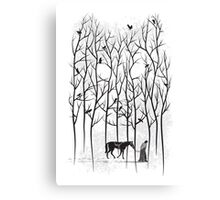 Snow and Ghost Amongst Crows Canvas Print