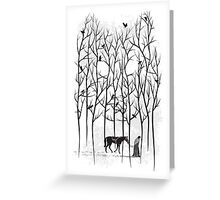 Snow and Ghost Amongst Crows Greeting Card