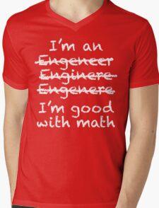 Engeneer Chalkboard Style Mens V-Neck T-Shirt