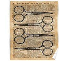 Hairdresser's Scissors Vintage Illustration Dictionary Art Poster