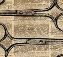 Hairdresser's Scissors Vintage Illustration Dictionary Art Sticker