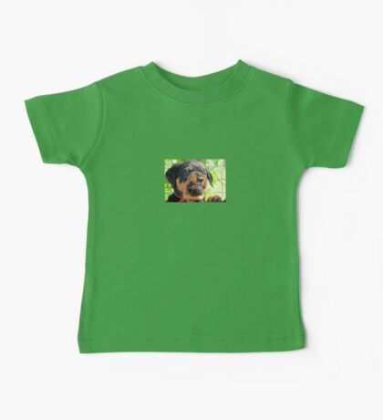 Funny Grumpy Faced Rottweiler Puppy  Baby Tee