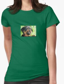 Funny Grumpy Faced Rottweiler Puppy  Womens Fitted T-Shirt