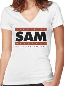 """SAM """"YAH'S VOICES COLOR"""" (WHT Plain 1) Women's Fitted V-Neck T-Shirt"""