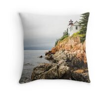 Stormy Cliffside Scenic Lighthouse Throw Pillow