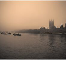 Smoggy Parliament, view from Westminster Bridge by RunnyCustard