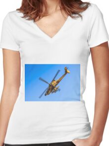 Apache AH-64A (Peten) Helicopter in flight Women's Fitted V-Neck T-Shirt