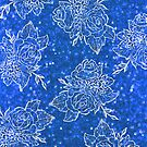 Blue Glitter and White Roses  by MonsieurM