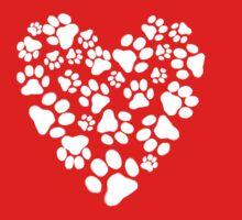 Dog Paw Prints Heart Baby Tee