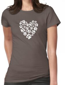 Dog Paw Prints Heart Womens Fitted T-Shirt