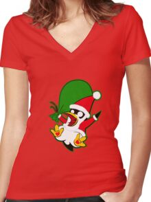 Hippo the Christmas Penguin! Women's Fitted V-Neck T-Shirt