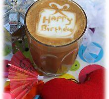 latte art happy birthday by Carly Haddad